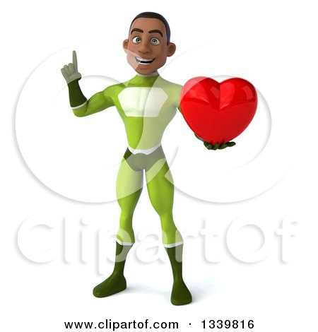 Clipart of a 3d Young Black Male Super Hero in a Green Suit, Holding up a Finger and a Red Love Heart - Royalty Free Illustration by Julos