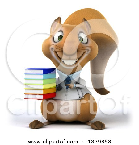 Clipart of a 3d Doctor or Veterinarian Squirrel Holding and Pointing to a Stack of Books - Royalty Free Illustration by Julos