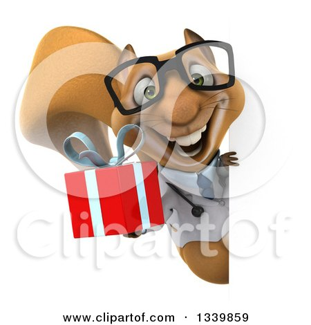 Clipart of a 3d Bespectacled Doctor or Veterinarian Squirrel Holding a Gift Around a Sign - Royalty Free Illustration by Julos