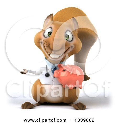 Clipart of a 3d Doctor or Veterinarian Squirrel Holding a Piggy Bank and Presenting - Royalty Free Illustration by Julos