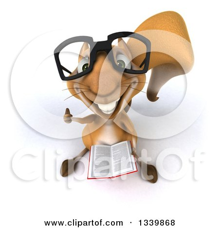 Clipart of a 3d Bespectacled Squirrel Holding up a Thumb and a Book - Royalty Free Illustration by Julos