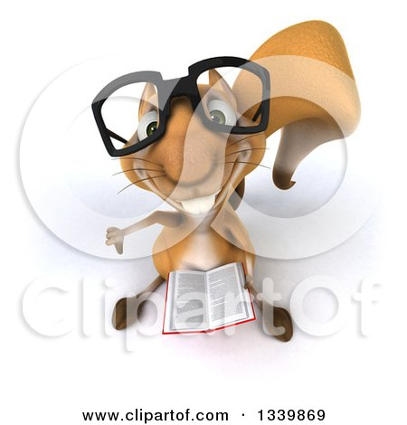Clipart of a 3d Bespectacled Squirrel Holding up a Thumb down and a Book - Royalty Free Illustration by Julos