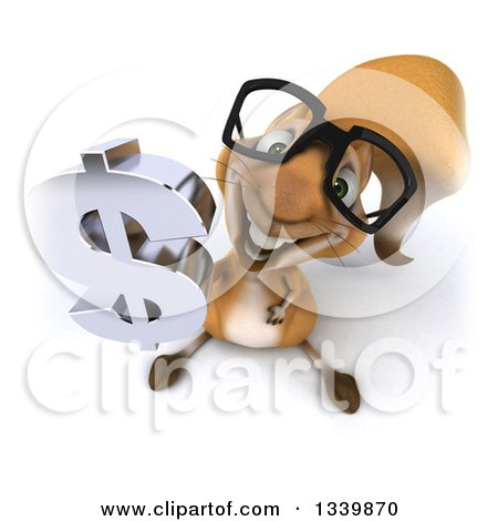 Clipart of a 3d Bespectacled Squirrel Holding up a Dollar Currency Symbol - Royalty Free Illustration by Julos