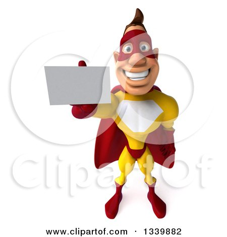 Clipart of a 3d Muscular Male Yellow and Red Super Hero Holding up a Business Card - Royalty Free Illustration by Julos