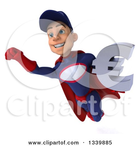Clipart of a 3d Young White Male Super Hero Mechanic in Red and Dark Blue, Holding a Euro Currency Symbol and Flying - Royalty Free Illustration by Julos