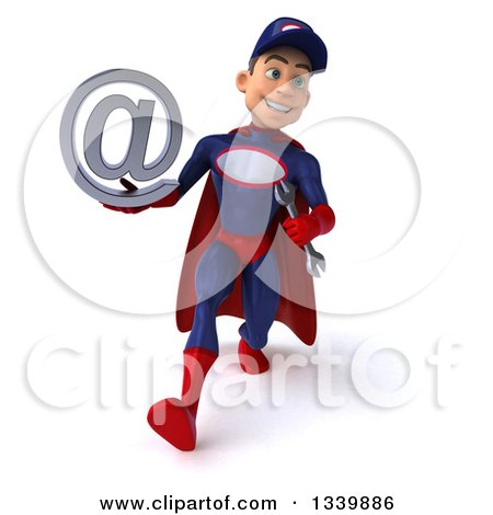 Clipart of a 3d Young White Male Super Hero Mechanic in Red and Dark Blue, Holding an Email Arobase at Symbol and Speed Walking - Royalty Free Illustration by Julos