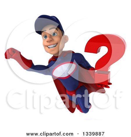 Clipart of a 3d Young White Male Super Hero Mechanic in Red and Dark Blue, Holding a Question Mark and Flying - Royalty Free Illustration by Julos