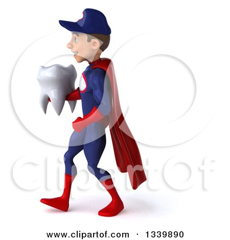 Clipart of a 3d Young White Male Super Hero Mechanic in Red and Dark Blue, Holding a Tooth and Walking to the Left - Royalty Free Illustration by Julos