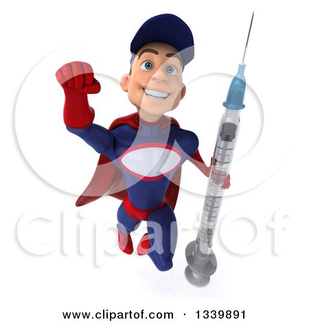 Clipart of a 3d Young White Male Super Hero Mechanic in Red and Dark Blue, Holding a Giant Vaccine Syringe and Flying - Royalty Free Illustration by Julos