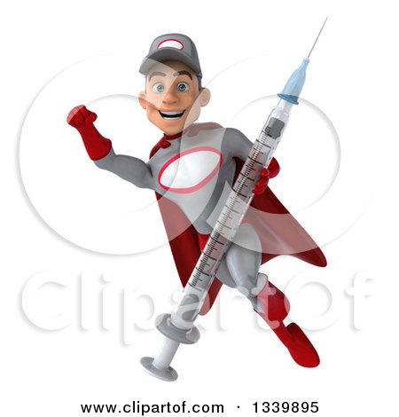 Clipart of a 3d Young White Male Super Hero Mechanic in Gray and Red, Holding a Giant Vaccine Syringe and Flying - Royalty Free Illustration by Julos