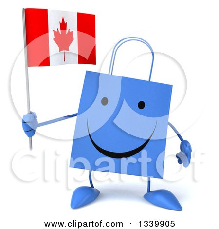 Clipart of a 3d Happy Blue Shopping or Gift Bag Character Holding a Canadian Flag - Royalty Free Illustration by Julos