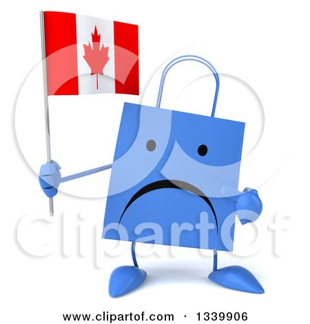 Clipart of a 3d Unhappy Blue Shopping or Gift Bag Character Holding and Pointing to a Canadian Flag - Royalty Free Illustration by Julos