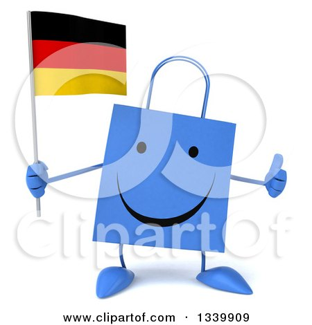 Clipart of a 3d Happy Blue Shopping or Gift Bag Character Holding a German Flag and Giving a Thumb up - Royalty Free Illustration by Julos