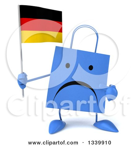 Clipart of a 3d Unhappy Blue Shopping or Gift Bag Character Holding and Pointing to a German Flag - Royalty Free Illustration by Julos