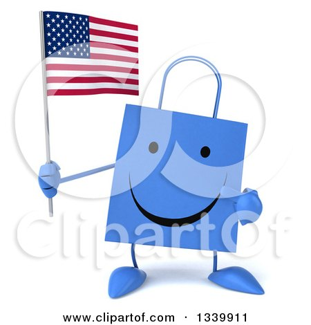 Clipart of a 3d Happy Blue Shopping or Gift Bag Character Holding and Pointing to an American Flag - Royalty Free Illustration by Julos