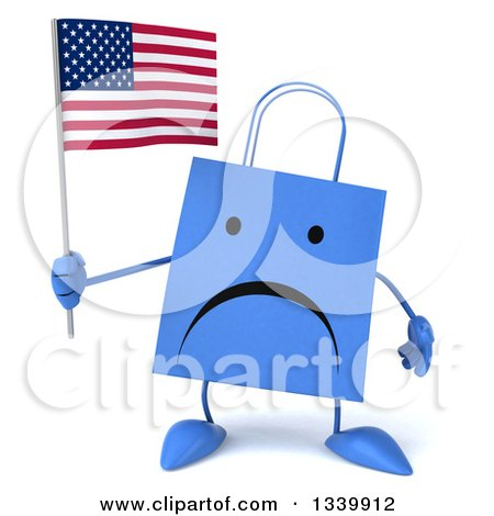 Clipart of a 3d Unhappy Blue Shopping or Gift Bag Character Holding an American Flag - Royalty Free Illustration by Julos