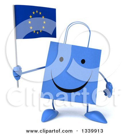 Clipart of a 3d Happy Blue Shopping or Gift Bag Character Holding a European Flag - Royalty Free Illustration by Julos