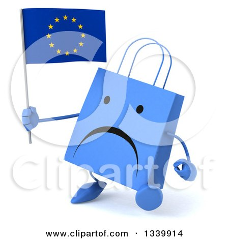 Clipart of a 3d Unhappy Blue Shopping or Gift Bag Character Holding a European Flag and Walking Slightly to the Left - Royalty Free Illustration by Julos