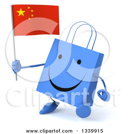 Clipart of a 3d Happy Blue Shopping or Gift Bag Character Holding a Chinese Flag and Walking Slightly Left - Royalty Free Illustration by Julos