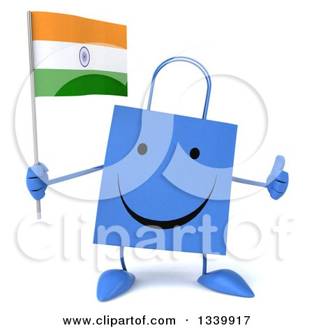 Clipart of a 3d Happy Blue Shopping or Gift Bag Character Holding an Indian Flag and Giving a Thumb up - Royalty Free Illustration by Julos