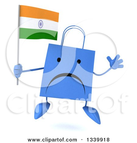 Clipart of a 3d Unhappy Blue Shopping or Gift Bag Character Holding an Indian Flag and Jumping - Royalty Free Illustration by Julos