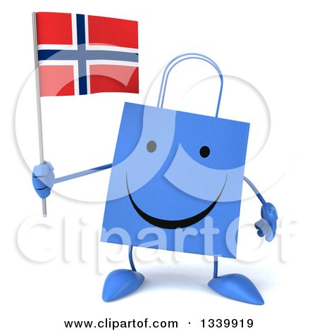 Clipart of a 3d Happy Blue Shopping or Gift Bag Character Holding a Norwegian Flag - Royalty Free Illustration by Julos