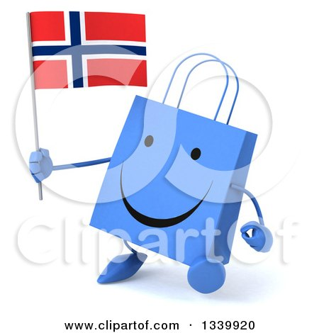 Clipart of a 3d Happy Blue Shopping or Gift Bag Character Holding a Norwegian Flag and Walking Slightly Right - Royalty Free Illustration by Julos