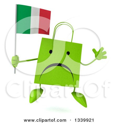Clipart of a 3d Unhappy Green Shopping or Gift Bag Character Holding an Italian Flag and Jumping - Royalty Free Illustration by Julos