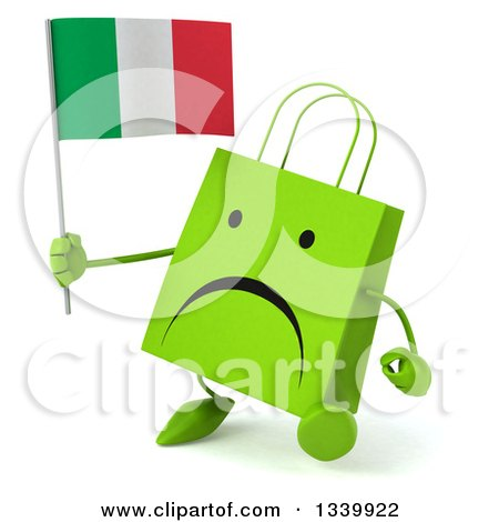 Clipart of a 3d Unhappy Green Shopping or Gift Bag Character Holding an Italian Flag and Walking Slightly to the Left - Royalty Free Illustration by Julos