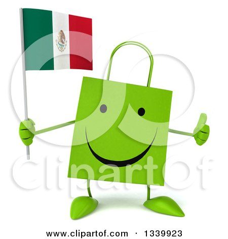 Clipart of a 3d Happy Green Shopping or Gift Bag Character Holding a Mexican Flag and Giving a Thumb up - Royalty Free Illustration by Julos