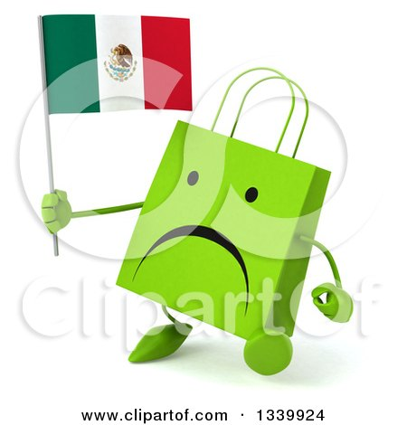 Clipart of a 3d Unhappy Green Shopping or Gift Bag Character Holding a Mexican Flag and Walking Slightly to the Left - Royalty Free Illustration by Julos