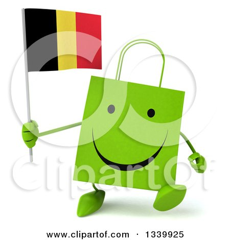 Clipart of a 3d Happy Green Shopping or Gift Bag Character Holding a Belgian Flag and Walking - Royalty Free Illustration by Julos
