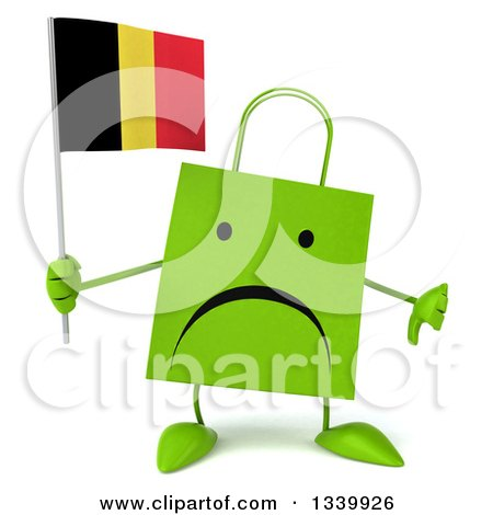 Clipart of a 3d Unhappy Green Shopping or Gift Bag Character Holding a Belgian Flag and Giving a Thumb down - Royalty Free Illustration by Julos