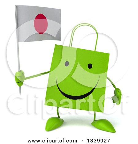 Clipart of a 3d Happy Green Shopping or Gift Bag Character Holding a Japanese Flag - Royalty Free Illustration by Julos