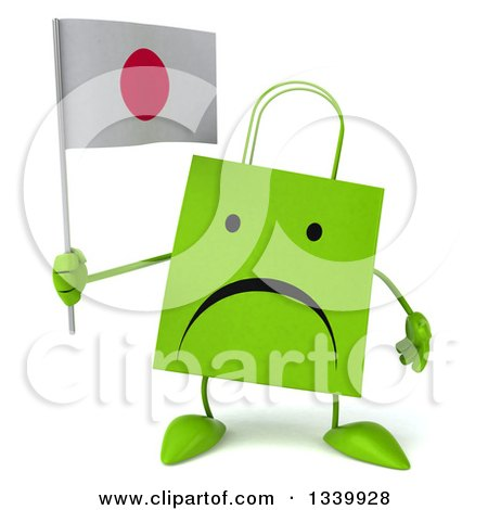 Clipart of a 3d Unhappy Green Shopping or Gift Bag Character Holding a Japanese Flag - Royalty Free Illustration by Julos
