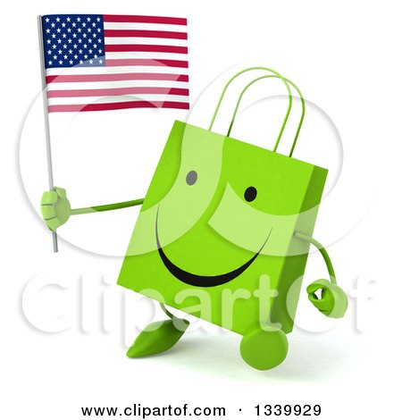 Clipart of a 3d Happy Green Shopping or Gift Bag Character Holding an American Flag and Walking Slightly to the Left - Royalty Free Illustration by Julos