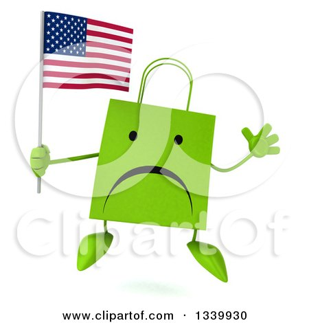 Clipart of a 3d Unhappy Green Shopping or Gift Bag Character Holding an American Flag and Jumping - Royalty Free Illustration by Julos