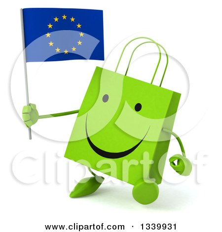 Clipart of a 3d Happy Green Shopping or Gift Bag Character Holding a European Flag and Walking Slightly to the Left - Royalty Free Illustration by Julos