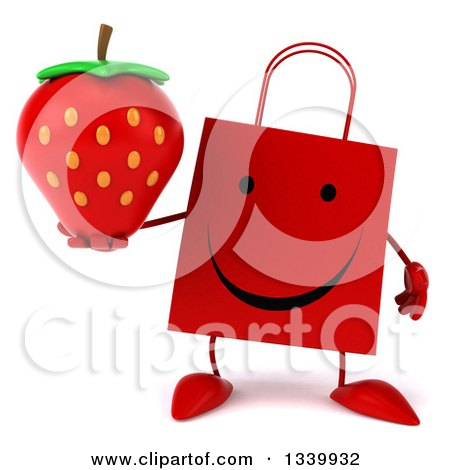 Clipart of a 3d Happy Red Shopping or Gift Bag Character Holding a Strawberry - Royalty Free Illustration by Julos