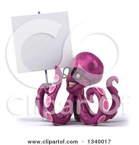Clipart of a 3d Bespectacled Purple Octopus Holding and Looking up at a Blank Sign - Royalty Free Illustration by Julos