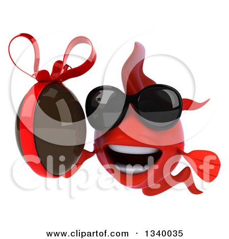 Clipart of a 3d Red Fish Wearing Sunglasses and Holding a Chocolate Easter Egg 2 - Royalty Free Illustration by Julos