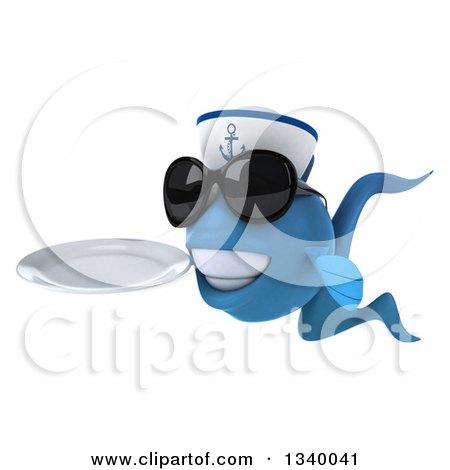Clipart of a 3d Happy Blue Sailor Fish Wearing Sunglasses, Facing Left and Holding a Plate - Royalty Free Illustration by Julos