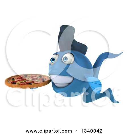Clipart of a 3d Blue Fish Holding a Pizza, Facing Left - Royalty Free Illustration by Julos