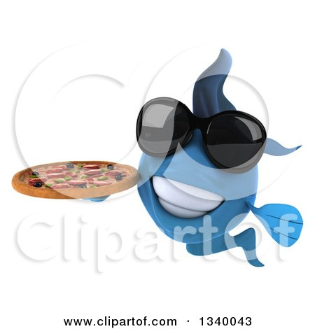 Clipart of a 3d Blue Fish Wearing Sunglasses and Holding a Pizza - Royalty Free Illustration by Julos