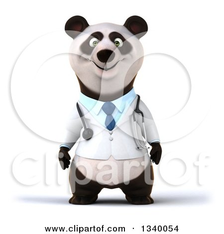 Clipart of a 3d Doctor or Veterinarian Panda - Royalty Free Illustration by Julos