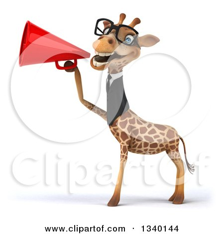 Clipart of a 3d Bespectacled Business Giraffe Announcing to the Left with a Megaphone - Royalty Free Illustration by Julos