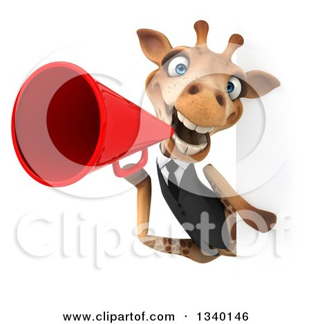 Clipart of a 3d Business Giraffe Announcing with a Megaphone Around a Sign - Royalty Free Illustration by Julos