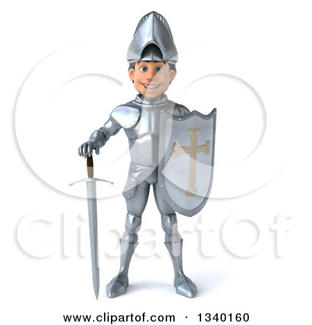 Clipart Of A 3d Caucasian Male Armored Knight Standing With A Shield And Sword Royalty Free Illustration