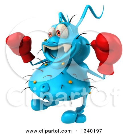 Clipart of a 3d Blue Germ Virus Facing Slightly Left, Wearing Boxing Gloves - Royalty Free Illustration by Julos