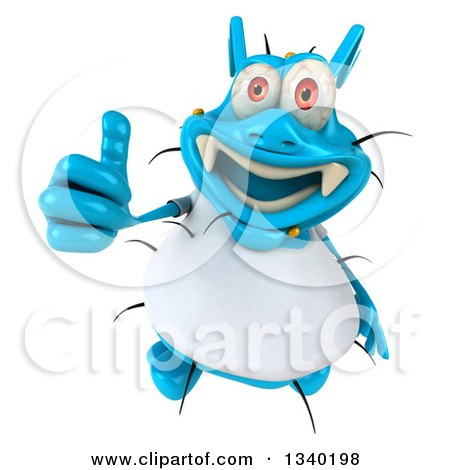 Clipart of a 3d Blue Germ Virus Wearing a White T Shirt, Holding up a Thumb - Royalty Free Illustration by Julos